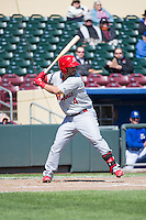 Ed Easley (4) of the Memphis Redbirds at bat against the Omaha Storm Chasers in Pacific Coast League action at Werner Park on April 22, 2015 in Papillion, Nebraska.  (Stephen Smith/Four Seam Images)