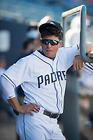 Peoria Javelinas infielder Luis Urias (9), of the San Diego Padres organization, during a game against the Scottsdale Scorpions on October 19, 2017 at Peoria Stadium in Peoria, Arizona. The Scorpions defeated the Javelinas 13-7.  (Zachary Lucy/Four Seam Images)