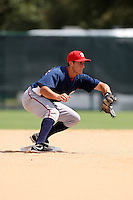 October 6, 2009:  Second Baseman Stephen Lombardozzi of the Washington Nationals organization during an Instructional League game at Disney's Wide World of Sports in Orlando, FL.  Lombardozzi was selected in the 19th round of the 2008 MLB Draft; son of former major leaguer Steve Lombardozzi.  Photo by:  Mike Janes/Four Seam Images