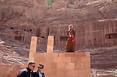A Jordanian soldier stands watch from a portion of the Nabataean Amphitheater as President Barack Obama and Dr. Suleiman walk through the ancient city of Petra in Jordan, March 23, 2013..Mandatory Credit: Pete Souza - White House via CNP