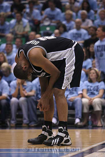 Salt Lake City - SPurs forward Tim Duncan reacts after he felt he was fouled in the first half. Utah Jazz vs. San Antonio Spurs, Western Conference Finals game three at EnergySolutions Arena..5.26.2007