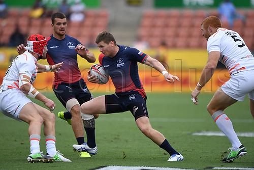 3rd February 2018, FMG Stadium, Waikato, Hamilton, New Zealand; HSBC World Rugby Sevens Series;  Caleb Clarke makes a break; NZ versus France