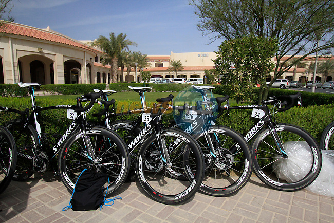 Omega Pharma-Quick Step Specialized bikes lined up before the start of the 3rd Stage of the 2012 Tour of Qatar outside Dukhan Souq, Dukhan, Qatar, 7th February 2012 (Photo Eoin Clarke/Newsfile)
