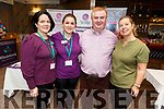 Staff from the Scotia Clinic and Nádúr Spa with Dan Horan at Horans Health & Wellness Exhibition in the Rose Hotel on Saturday. Tracy Cahill and Niamh Quirke (The Scotia Clinic), Dan Horan and Jeana Groves (Nadur Spa Ballingarry House)