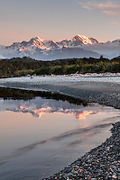 Southern Alps with Mt. Cook and Mt. Tasman photographed from Gillespies beach after sunset, Westland Tai Poutini National Park, UNESCO World Heritage Area, West Coast, New Zealand, NZ