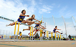 FARGO, ND - MAY 12: Runners clear a hurdle during the women's 100 meter hurdle prelims at the 2017 Summit League Outdoor Championship Friday afternoon at Ellig Sports Complex in Fargo, ND. (Photo by Dave Eggen/Inertia)
