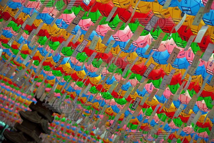 Colourful lanterns put up to celebrate the Buddha's birthday in Seoul.