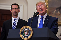 United States President President J. Donald Trump makes an announcement on the introduction of the Reforming American Immigration for a Strong Economy (RAISE) Act with US Senator Tom Cotton (Republican of Arkansas), left,  in the Roosevelt Room at the White House in Washington, D.C., U.S., on Wednesday, August 2, 2017. The act aims to overhaul U.S. immigration by moving towards a &quot;merit-based&quot; system.  <br /> Credit: Zach Gibson / Pool via CNP /MediaPunch