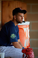 Elizabethton Twins Trevor Casanova (33) in the dugout during a game against the Bristol Pirates on July 28, 2018 at Joe O'Brien Field in Elizabethton, Tennessee.  Elizabethton defeated Bristol 5-0.  (Mike Janes/Four Seam Images)