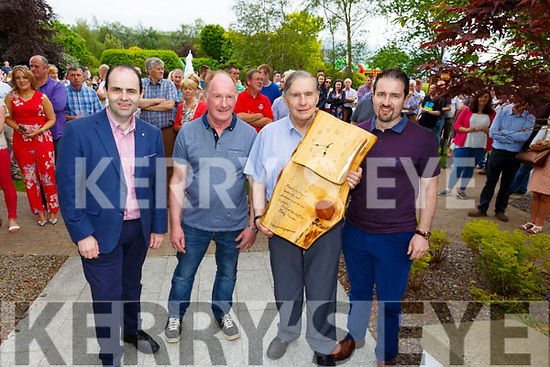 A special presentation made Ned Harty.<br /> L-r,  Prof. Edmund Harty, Jimmy Murphy and Ned Harty and John Harty.