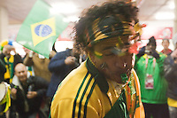 A Brazil samba fans blow his whistle before the 2010 World Cup match at Ellis Park Stadium.  Chile played Brazil at Ellis Park in Johannesburg, South Africa on Monday, June 28, 2010.  Brazil defeated Chilie 3-0.