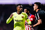 Nelson Semedo of FC Barcelona (L) talks to FIFA Referee Jesus Gil Manzano (R) during the La Liga 2018-19 match between Atletico Madrid and FC Barcelona at Wanda Metropolitano on November 24 2018 in Madrid, Spain. Photo by Diego Souto / Power Sport Images