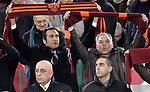 Calcio, Serie A: Roma vs Milan. Roma, stadio Olimpico, 22 dicembre 2012..AS Roma incoming CEO Italo Zanzi, top left, and president James Pallotta, top right, hold up their team's scarves past AC Milan CEO Adriano Galliani, bottom left, and his son Gianluca, during the Italian Serie A football match between AS Roma and AC Milan at Rome's Olympic stadium, 22 December 2012.UPDATE IMAGES PRESS/Riccardo De Luca