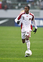 CARSON, CA - March 25, 2012:  Joevin Jones (3) of Trinidad & Tobago during the Panama vs Trinidad & Tobago match at the Home Depot Center in Carson, California. Final score Panama 1, Trinidad & Tobago 1.