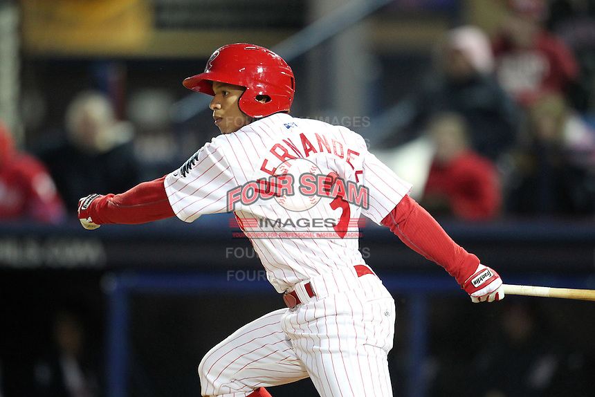 Reading Phillies second baseman Cesar Hernandez #3 during a game against the New Hampshire Fisher Cats at FirstEnergy Stadium on April 10, 2012 in Reading, Pennsylvania.  New Hampshire defeated Reading 3-2.  (Mike Janes/Four Seam Images)
