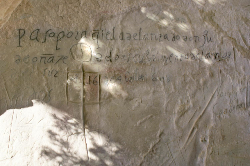 """The 1605 signature of Don Juan de Onate, the Spanish colonizer of New Mexico, can still be seen on the sandstone of El Morro in Western New Mexico. Onate marked the stone with """"Passed here the Adelantado Juan de Onate from the discovery of the South Sea on the 16th of April, 1605."""" This year will mark the 400th anniversary of Onate's entrada into New Mexico."""