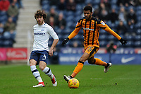 Ben Pearson of Preston North End plays the ball past Fraizer Campbell of Hull City during Preston North End vs Hull City, Sky Bet EFL Championship Football at Deepdale on 3rd February 2018