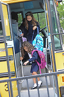 The Harker School - LS - Lower School - Peninsula Shuttle Bus dropping off children at the Bucknall Circle Lot?Photo by Kyle Cavallaro