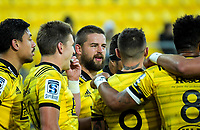 Dane Coles talks to his team during the Super Rugby match between the Hurricanes and Highlanders at Westpac Stadium in Wellington, New Zealand on Friday, 1 March 2019. Photo: Dave Lintott / lintottphoto.co.nz