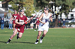 Los Angeles, CA 02/08/13 - Christina Esposito  (Northwestern #3) and Amy Tiernan  (Umass #29) in action during the Northwestern vs UMass NCAA Women's Lacrosse game at USC's McAlister Field.