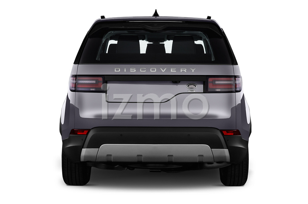 Straight rear view of 2017 Land Rover Discovery HSE 5 Door SUV stock images