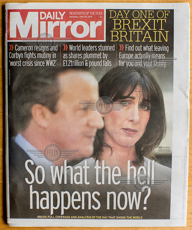 The front cover of the Daily Mirror newspaper on 25 June 2016, two days after the EU referendum. The Mirror supported the Remain (in the EU) side during the campaign leading up to the vote.