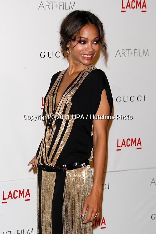LOS ANGELES - NOV 5:  Zoe Saldana arrives at the LACMA Art + Film Gala at LA County Museum of Art on November 5, 2011 in Los Angeles, CA
