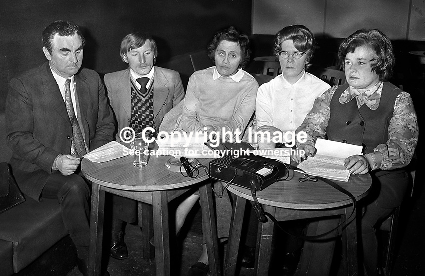Provisional Sinn Fein Press Conference to respond to break-down of IRA ceasefire. Left to right: James Drumm, Malachy Foots, Maire Drumm, Mary McGuigan, Maire Moore. 197501160038..Copyright Image from Victor Patterson, 54 Dorchester Park, Belfast, UK, BT9 6RJ..Tel: +44 28 9066 1296.Mob: +44 7802 353836.Voicemail +44 20 8816 7153.Skype: victorpattersonbelfast.Email: victorpatterson@mac.com.Email: victorpatterson@ireland.com (back-up)..IMPORTANT: If you wish to use this image or any other of my images please go to www.victorpatterson.com and click on the Terms & Conditions. Then contact me by email or phone with the reference number(s) of the image(s) concerned.