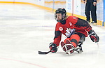 Pyeongchang, Korea, 10/3/2018-  Adam Dixon of Canada plays Sweden in hockey during the 2018 Paralympic Games in PyeongChang. Photo Scott Grant/Canadian Paralympic Committee.