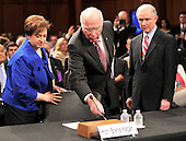 United States Senate Judiciary Committee Chairman Patrick Leahy (Democrat of Vermont) shows U.S. Solicitor General Elena Kagan how to work the microphone prior to her confirmation hearing as Associate Justice of the United States Supreme Court  in Washington, D.C. on Monday, June 28, 2010.  U.S. Senate Judiciary Committee ranking member Jeff Sessions (Republican of Alabama) looks on from right..Credit: Ron Sachs / CNP