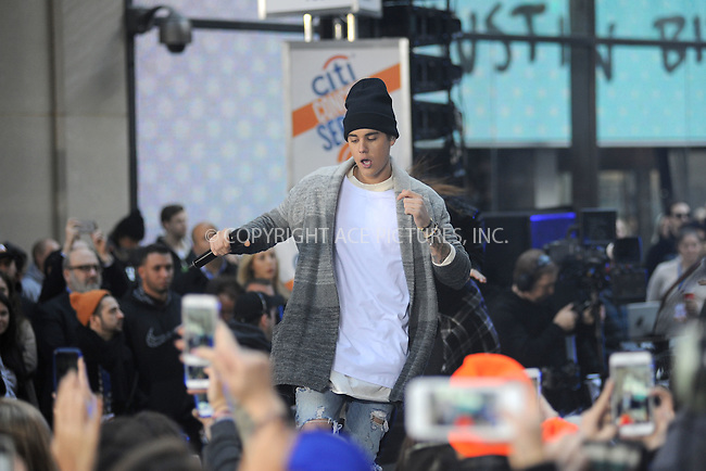 WWW.ACEPIXS.COM<br /> November 18, 2015 New York City<br /> <br /> Justin Bieber performing in concert on NBC TODAY at Rockefeller Plaza on November 12, 2015 in New York City.<br /> <br /> Credit: Kristin Callahan/ACE<br /> <br /> Tel: (646) 769 0430<br /> e-mail: info@acepixs.com<br /> web: http://www.acepixs.com
