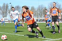 VOETBAL: URK: Sportpark 'de Vormt', SV Urk - Drachtster Boys, 14-04-2012, Zaterdag Hoofdklasse C, Lucas Nagel (#18 Urk), Jacob Bras (#13 DB) aan de bal, Pieter Jelle de Jong (#3 DB), Eindstand 2-3, ©foto Martin de Jong