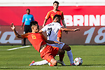 Wu Xi of China (L) fights for the ball with Akhlidin Israilov of Kyrgyz Republic (R) during the AFC Asian Cup UAE 2019 Group C match between China (CHN) and Kyrgyz Republic (KGZ) at Khalifa Bin Zayed Stadium on 07 January 2019 in Al Ain, United Arab Emirates. Photo by Marcio Rodrigo Machado / Power Sport Images