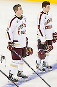 Pat Mullane (BC - 11), Danny Linell (BC - 10) - The Boston College Eagles defeated the visiting University of Massachusetts Lowell River Hawks 6-3 on Sunday, October 28, 2012, at Kelley Rink in Conte Forum in Chestnut Hill, Massachusetts.