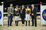 Team DASH rider Clarissa Lyra of Hong Kong riding Chardonay Haras des Barrages and jockey Vincent Ho of China riding Fiona D'Ecaussinnes celebrate winning the HKJC Race Of The Riders during the Longines Masters of Hong Kong at the Asia World Expo on 09 February 2018, in Hong Kong, Hong Kong. Photo by Diego Gonzalez / Power Sport Images