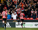 Leon Clarke of Sheffield Utd celebrates scoring his first goal during the English League One match at Bramall Lane Stadium, Sheffield. Picture date: April 17th 2017. Pic credit should read: Simon Bellis/Sportimage