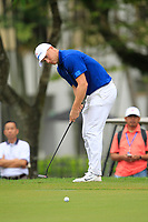 Alex Noren (Europe) on the 16th green during the Singles Matches of the Eurasia Cup at Glenmarie Golf and Country Club on the Sunday 14th January 2018.<br /> Picture:  Thos Caffrey / www.golffile.ie