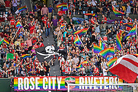 Portland, Oregon - Wednesday June 22, 2016: Supporters for the Thorns during a regular season National Women's Soccer League (NWSL) match at Providence Park.