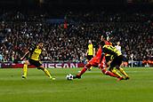 6th December 2017, Santiago Bernabeu, Madrid, Spain; UEFA Champions League football, Real Madrid versus Dortmund; Keylor Navas Gamboa (1) Real Madrid clears his box under pressure