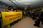 Members of the International Peoples Forum on Climate Change preform a cleansing ceremony for the conference party leaders to cleanse their minds and spirits, for clarity, compassion strength and perseverance in coming out of the COP negotiations with a binding commitment to Save Mother Earth. (Images free for Editorial Web usage for Fresh Air Participants during COP 15. Credit: Robert vanWaarden)