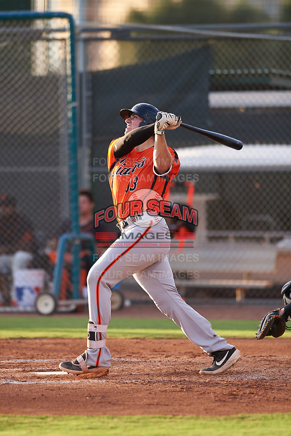 AZL Giants Orange Connor Cannon (13) at bat during an Arizona League game against the AZL Giants Black on July 19, 2019 at the Giants Baseball Complex in Scottsdale, Arizona. The AZL Giants Black defeated the AZL Giants Orange 8-5. (Zachary Lucy/Four Seam Images)