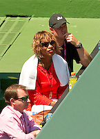 Serena Williams watching Marion BARTOLI (FRA) against Venus WILLIAMS (USA) in the semi-finals of the women's singles. Venus Williams beat Marion Bartoli 6-3 6-4..International Tennis - 2010 ATP World Tour - Sony Ericsson Open - Crandon Park Tennis Center - Key Biscayne - Miami - Florida - USA - Thu 1 Apr 2010..© Frey - Amn Images, Level 1, Barry House, 20-22 Worple Road, London, SW19 4DH, UK .Tel - +44 20 8947 0100.Fax -+44 20 8947 0117