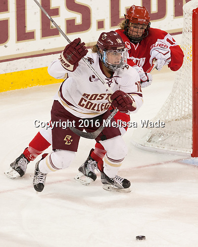 Toni Ann Miano (BC - 18), Maddie Elia (BU - 14) - The Boston College Eagles defeated the visiting Boston University Terriers 5-3 (EN) on Friday, November 4, 2016, at Kelley Rink in Conte Forum in Chestnut Hill, Massachusetts.The Boston College Eagles defeated the visiting Boston University Terriers 5-3 (EN) on Friday, November 4, 2016, at Kelley Rink in Conte Forum in Chestnut Hill, Massachusetts.