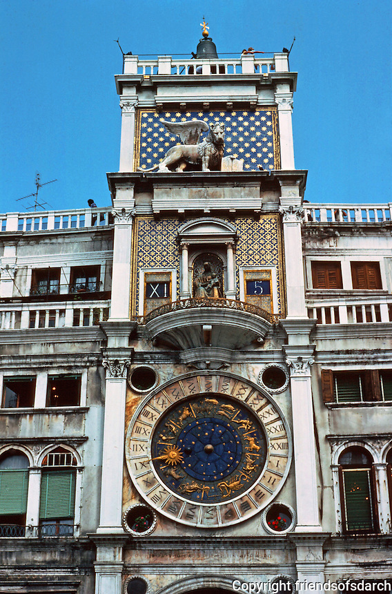 Venice:  Piazza San Marco--Clock Tower.  Photo '83.