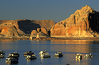 Houseboats Wahweap Marina. Lake Powell, Glen Canyon National Recreation Area.  Arizona, Utah.
