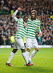 Victor Wanyama celebrates his goal with Georgios Samaras