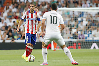 James of Real Madrid and Gabi of Atletico de Madrid during La Liga match between Real Madrid and Atletico de Madrid at Santiago Bernabeu stadium in Madrid, Spain. September 13, 2014. (ALTERPHOTOS/Caro Marin)
