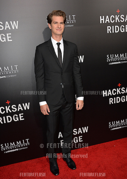 LOS ANGELES, CA. October 24, 2016: Actor Andrew Garfield at the Los Angeles premiere of &quot;Hacksaw Ridge&quot; at The Academy's Samuel Goldwyn Theatre, Beverly Hills.<br /> Picture: Paul Smith/Featureflash/SilverHub 0208 004 5359/ 07711 972644 Editors@silverhubmedia.com