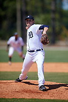 Detroit Tigers pitcher Carson Lance (35) during a Minor League Spring Training game against the Atlanta Braves on March 22, 2018 at the TigerTown Complex in Lakeland, Florida.  (Mike Janes/Four Seam Images)