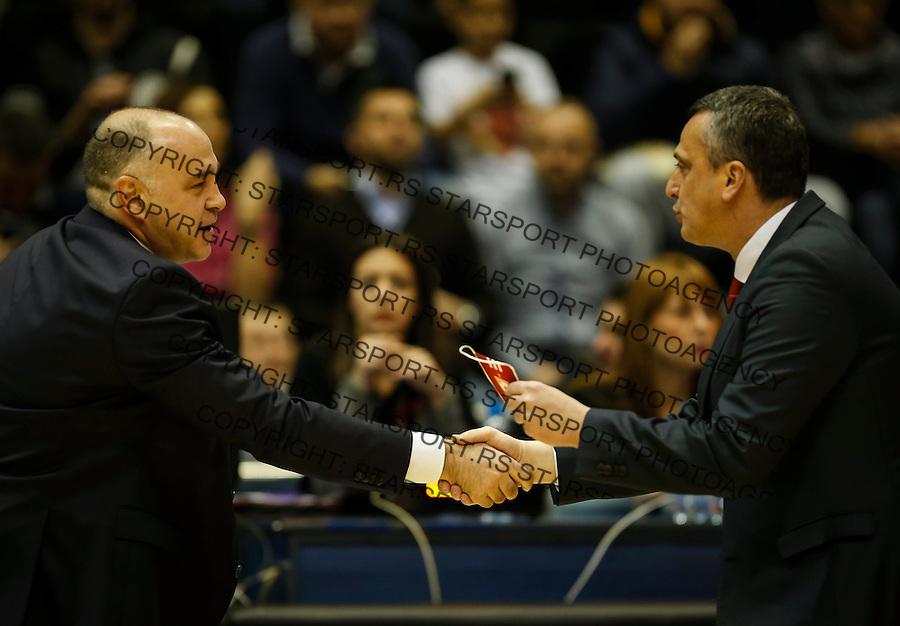 Kosarka Euroleague season 2016-2017<br /> Euroleague <br /> Crvena Zvezda v Real Madrid<br /> Head coach Pablo Laso and Head coach Dejan Radonjic (R)<br /> Beograd, 22.12.2016.<br /> foto: Srdjan Stevanovic/Starsportphoto &copy;